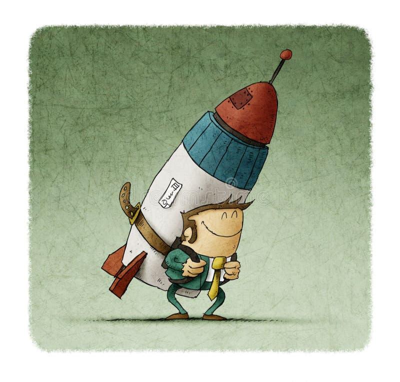 Biznesowego mężczyzna mienia strumienia paczki rakieta pojęcie przedsiębiorcy statek ilustracji
