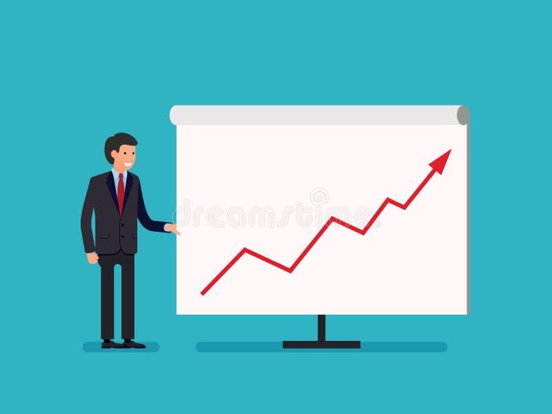 Biznesowego mężczyzna mienia whiteboard - prezentaci mieszkania stylu kreskówka ilustracji