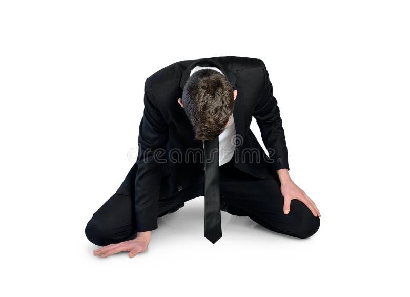 Biznesowego mężczyzna niepowodzenie siedzi puszek obrazy stock