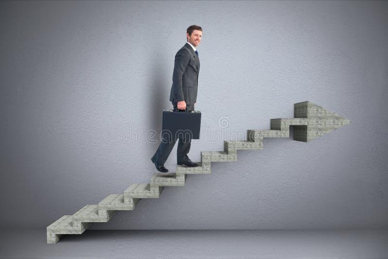 Biznesowego mężczyzna odprowadzenie na 3d schodkach z strzała zdjęcie royalty free