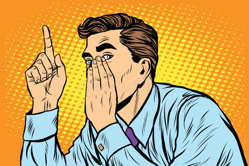 Biznesowego mężczyzna plotki duża tajna plotka ilustracja wektor