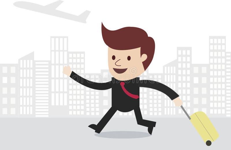 Biznesowego mężczyzna podróżnik z miasto linią horyzontu ilustracja wektor