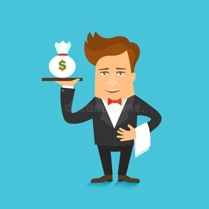 Biznesowego mężczyzna postać z kreskówki wektorowa ilustracja z pieniądze ilustracja wektor
