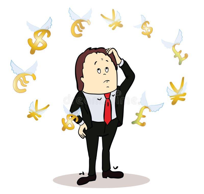 Biznesowego mężczyzna pozycja, dopatrywanie dla latać ilustracji
