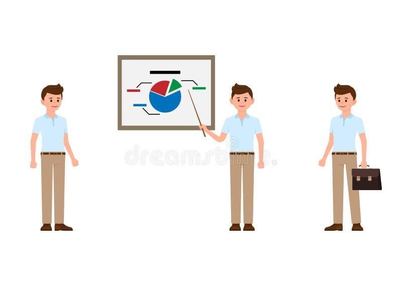 Biznesowego mężczyzna pozycja, robi prezentaci postać z kreskówki Wektorowa ilustracja samiec w przypadkowej odzieży ilustracja wektor