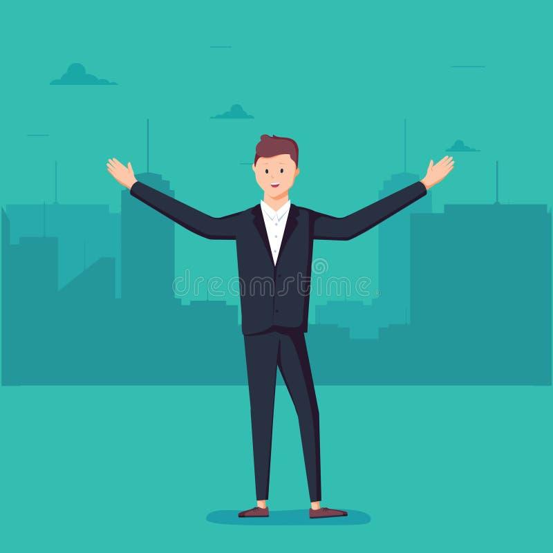 Biznesowego mężczyzna pozycja z otwartymi rękami na tle duży ilustracja wektor