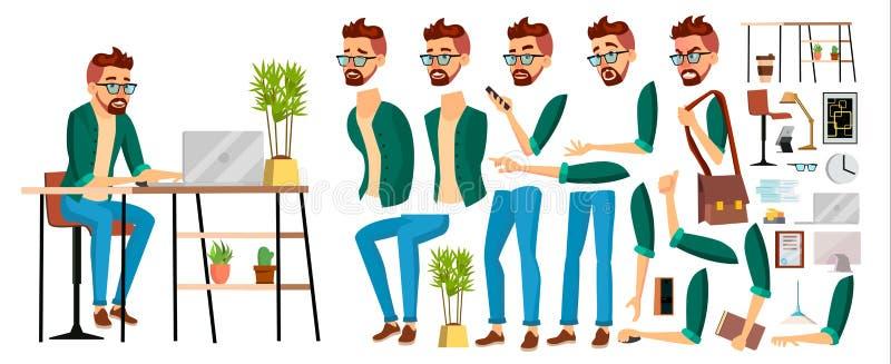 Biznesowego mężczyzna pracownika charakteru wektor Modniś Pracująca samiec zielony tło urzędnik Animacja set Urzędnik, sprzedawca ilustracji