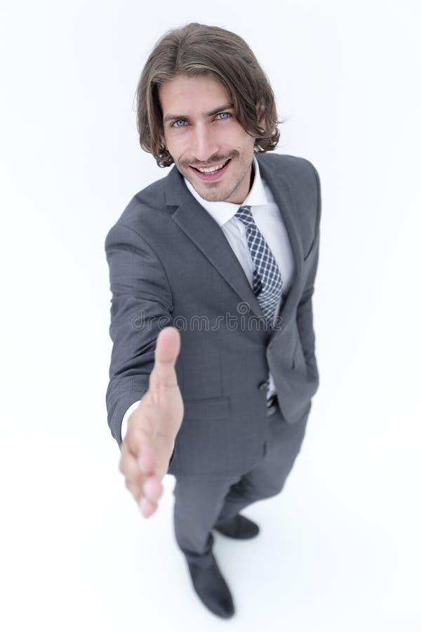Biznesowego mężczyzna przedłużyć ręka potrząśnięcie - skupia się om rękę zdjęcia stock
