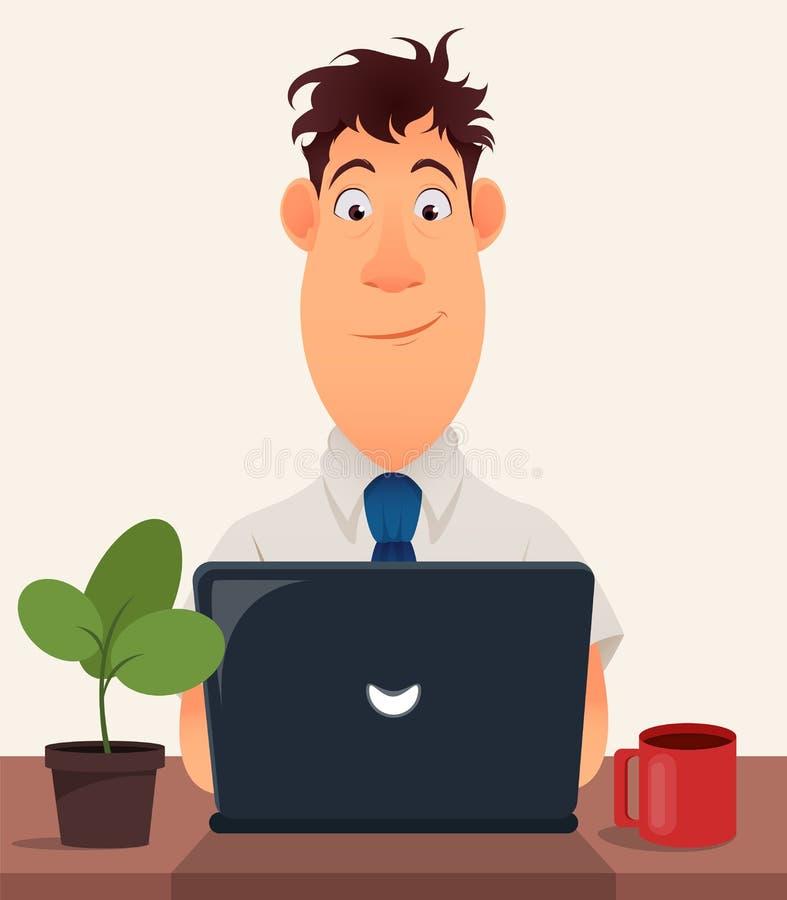 Biznesowego mężczyzna przedsiębiorca pracuje na laptopie przy jego biurowym biurkiem royalty ilustracja