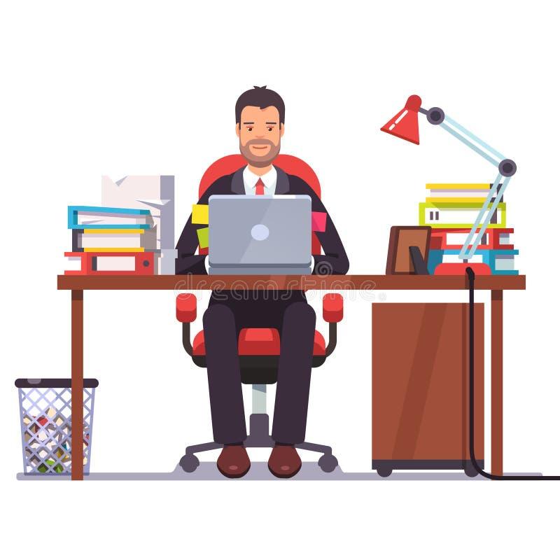 Biznesowego mężczyzna przedsiębiorca w kostiumu działaniu ilustracja wektor