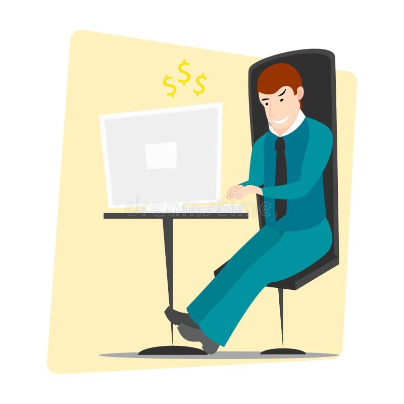 Biznesowego mężczyzna przedsiębiorca w kostiumu pracuje na komputerze ilustracji