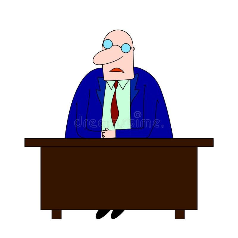 Biznesowego mężczyzna przedsiębiorca w kostiumu pracuje przy jego biurowym biurkiem Mieszkanie stylowa ilustracja ilustracja wektor