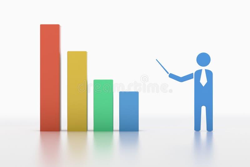 Biznesowego mężczyzna punkt przy wzrostową mapą ilustracja wektor