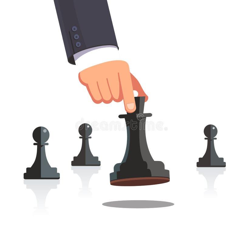 Biznesowego mężczyzna ręka robi strategicznemu szachowemu ruchowi ilustracja wektor