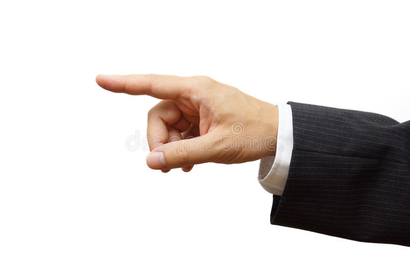 Biznesowego mężczyzna ręka wskazuje lub wybiera Przygotowywający dla próbka teksta zdjęcia royalty free