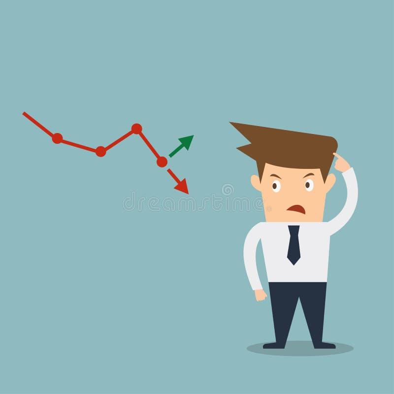 Biznesowego mężczyzna rynku papierów wartościowych zmieszana strzała zdjęcie stock
