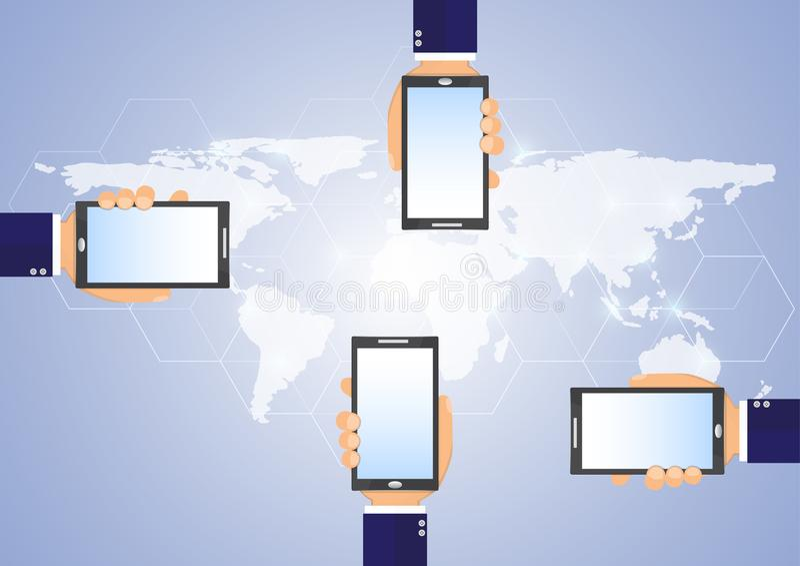 Biznesowego mężczyzna ` s ręki mienia smartphone nad światową mapą z sieć związkiem, biznesowej technologii bezprzewodowy komunik ilustracja wektor