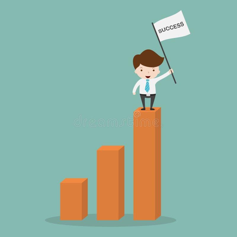 Biznesowego mężczyzna sandnig na zysku wykresie ilustracji