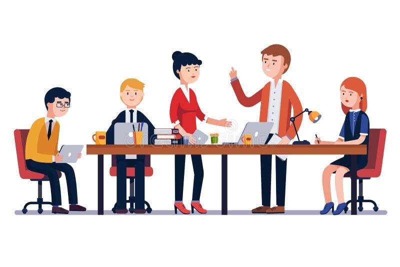 Biznesowego mężczyzna spotkanie przy dużym konferencyjnym biurkiem royalty ilustracja