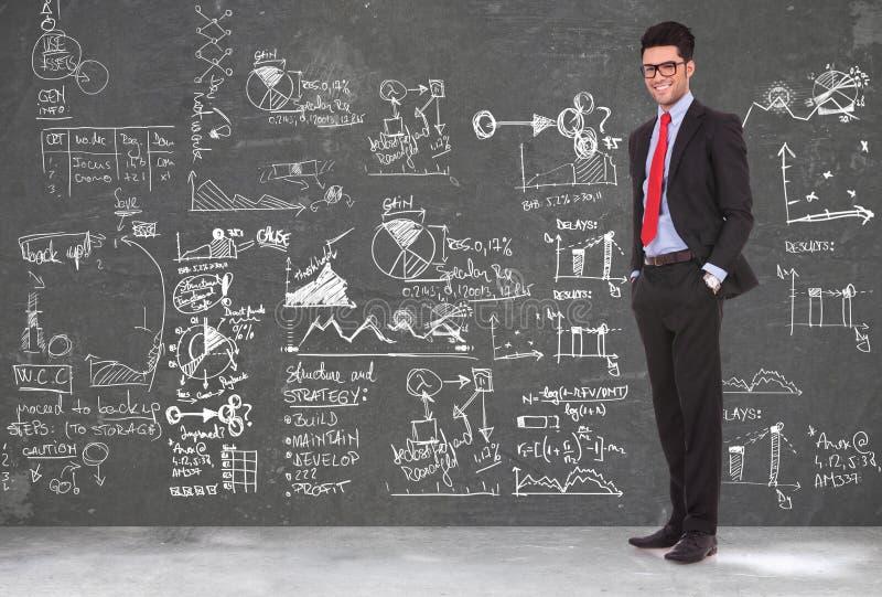 Biznesowego mężczyzna stojaki przed blackboard zdjęcia royalty free