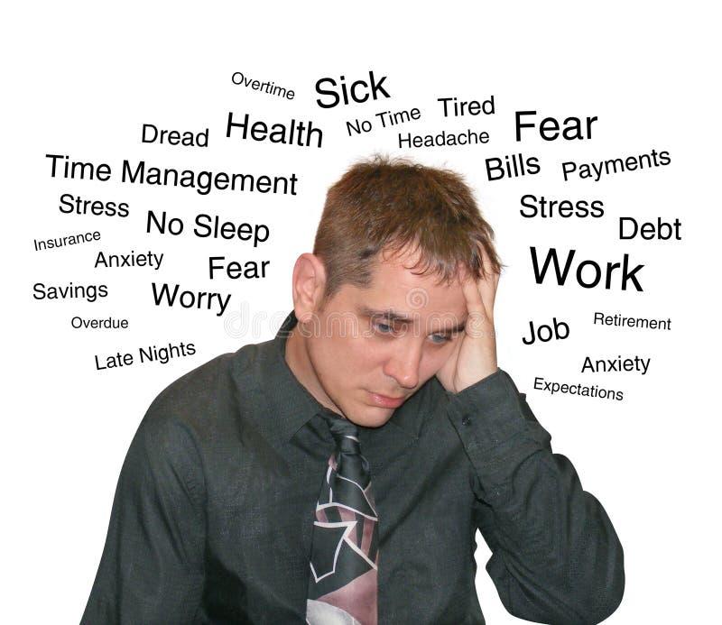 biznesowego mężczyzna stresu teksta zmartwienie zdjęcie stock