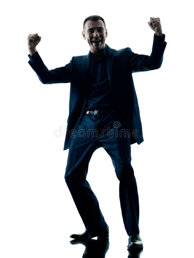 Biznesowego mężczyzna szczęśliwa odświętność odizolowywająca zdjęcia stock