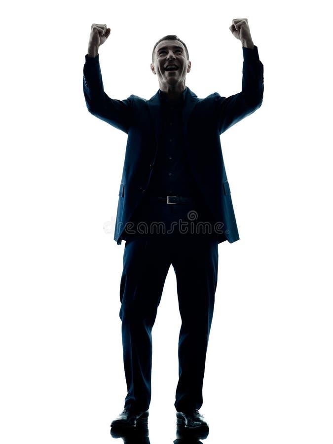 Biznesowego mężczyzna szczęśliwa odświętność odizolowywająca zdjęcie royalty free