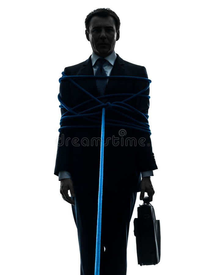 Biznesowego mężczyzna więźnia wiązana up sylwetka zdjęcia royalty free