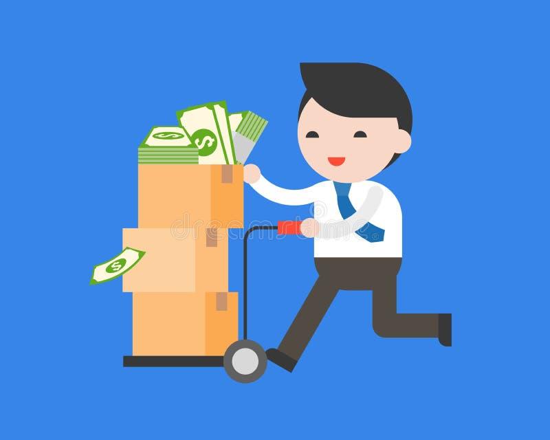 Biznesowego mężczyzna wyboru fura folował z dolarowymi banknotami w pakuneczku, abo ilustracja wektor
