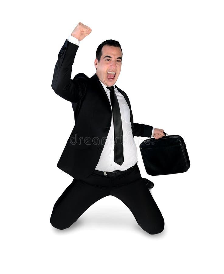 Biznesowego mężczyzna zwycięzcy ręka up zdjęcia stock