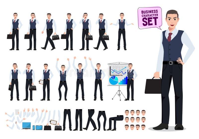 Biznesowego mężczyzny charakteru wektorowy tworzenie ustawiający z męską urzędnika mienia teczką ilustracji