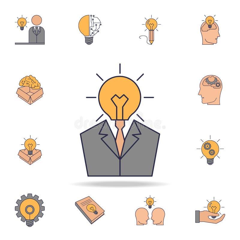 biznesowego mężczyzny głowy żarówki fild koloru ikona Szczegółowy set koloru pomysłu ikony Premia graficzny projekt Jeden kolekcj ilustracji