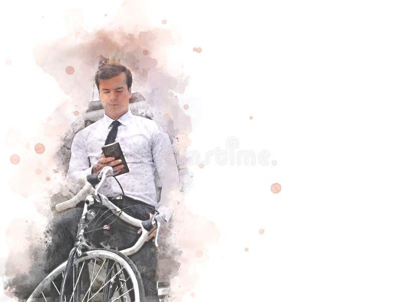 Biznesowego mężczyzny i bicyklu odprowadzenie na ulicznej akwareli obraz stock
