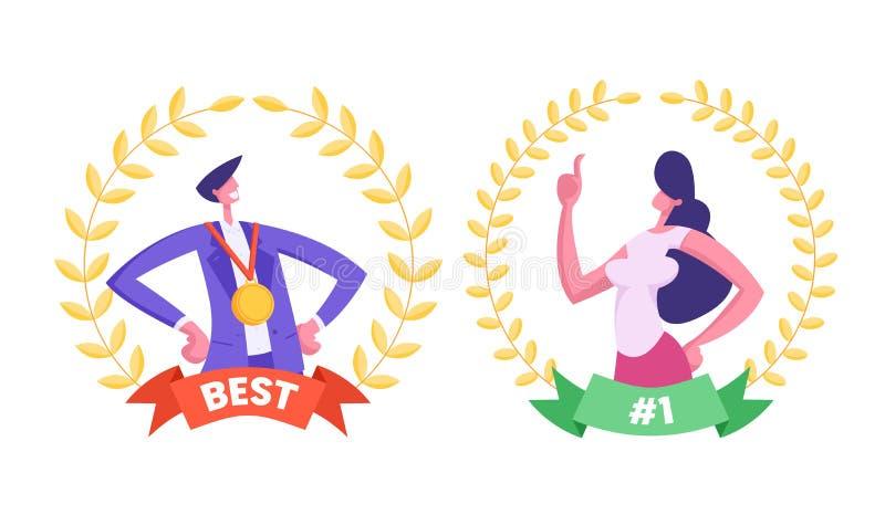 Biznesowego mężczyzny i kobiety pracownika Najlepszy kierownicy Wśrodku Złotego nagroda wianku z ilustracji