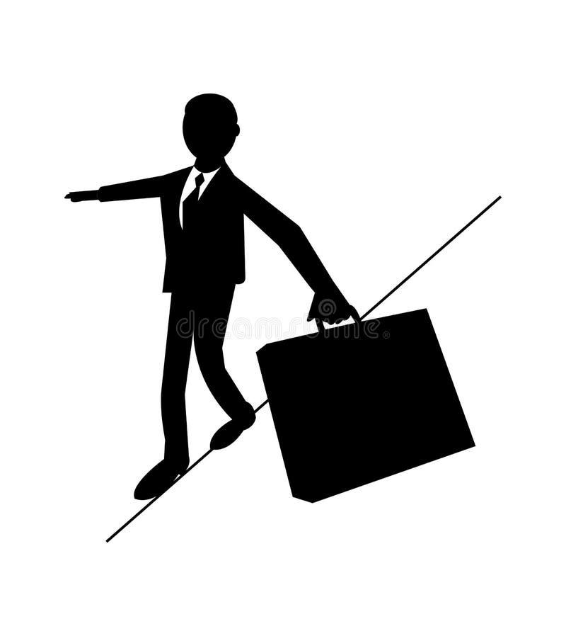 Biznesowego mężczyzny odprowadzenie na ciasnej arkanie i równoważenie royalty ilustracja