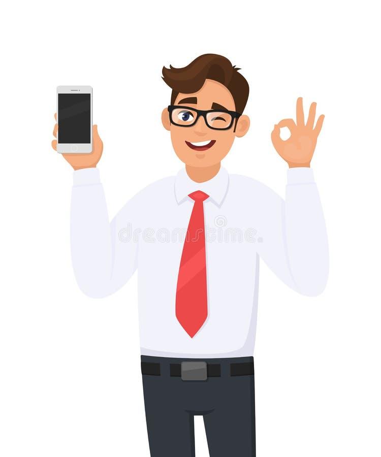 Biznesowego mężczyzny seans, mienie nowy gatunek, opóźniony smartphone, komórka, telefon komórkowy i gestykulować robi ok, OK zna royalty ilustracja