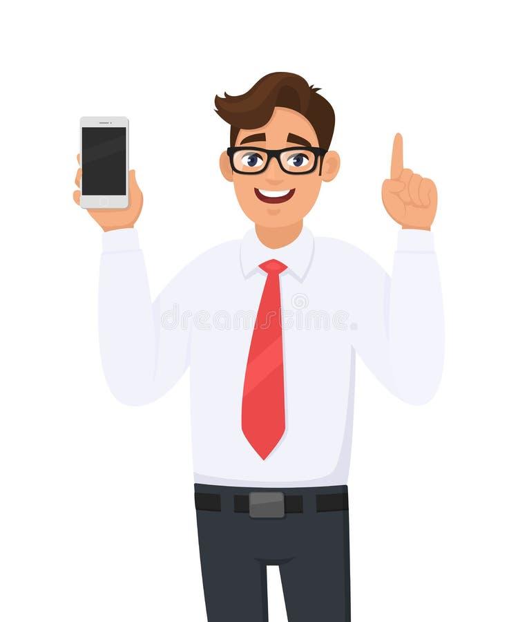 Biznesowego mężczyzny seans, trzymać i wskazywać/nowego gatunek, opóźnionego smartphone ekran, komórka, telefon komórkowy w ręce  ilustracji
