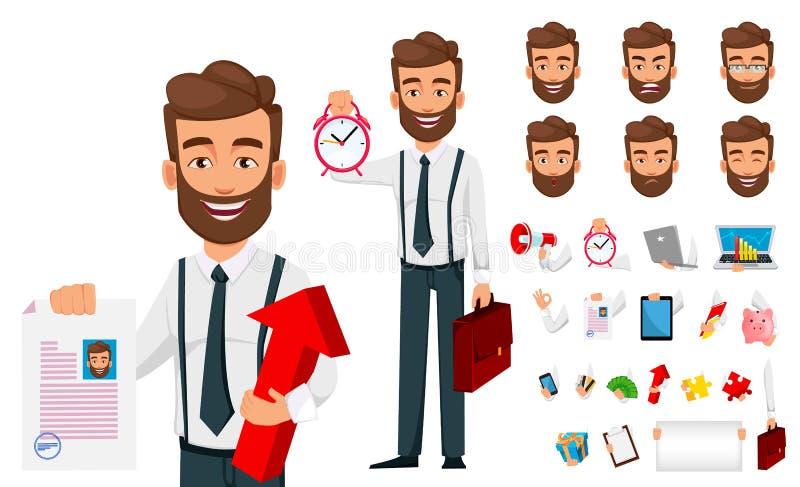 Biznesowego m??czyzna posta? z kresk?wki tworzenia set biznesmen przystojny royalty ilustracja