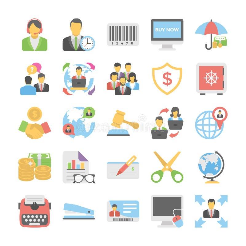 Biznesowego mieszkania Barwione ikony 4 ilustracja wektor