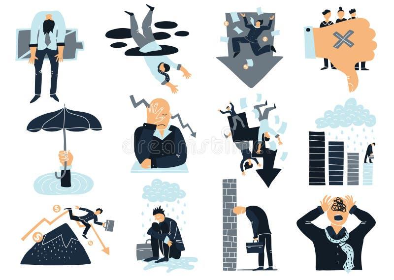 Biznesowego niepowodzenia Płaskie ikony Ustawiać ilustracja wektor