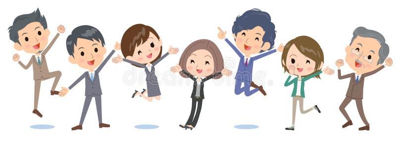 Biznesowego people_jump szczęśliwa strona strona - obok - ilustracja wektor
