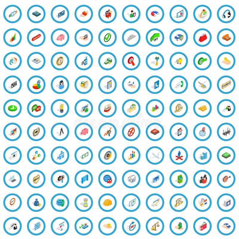 100 biznesowego planowania ikon ustawiających, isometric styl ilustracji