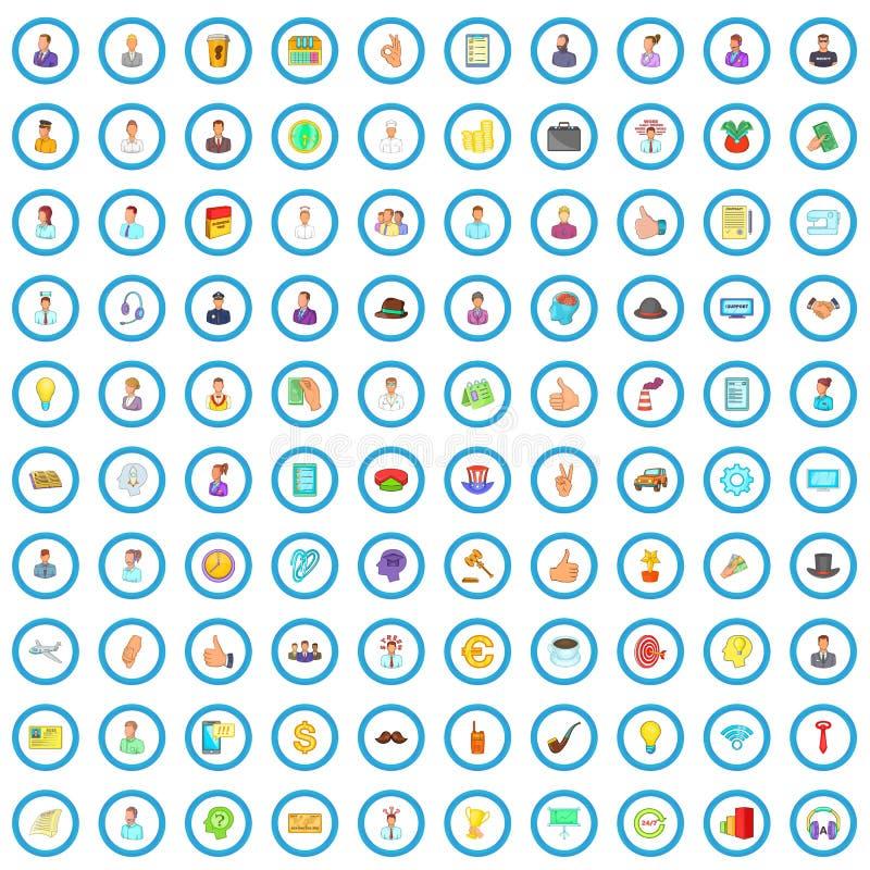 100 biznesowego planowania ikon ustawiających, kreskówka styl ilustracja wektor