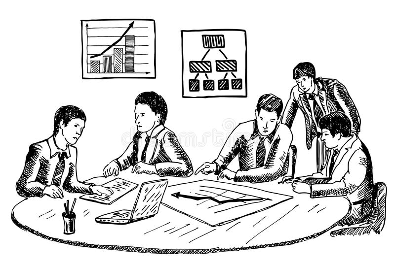 Biznesowego planowania lub warsztata pojęcia wektorowa ręka rysująca ilustracja ilustracja wektor