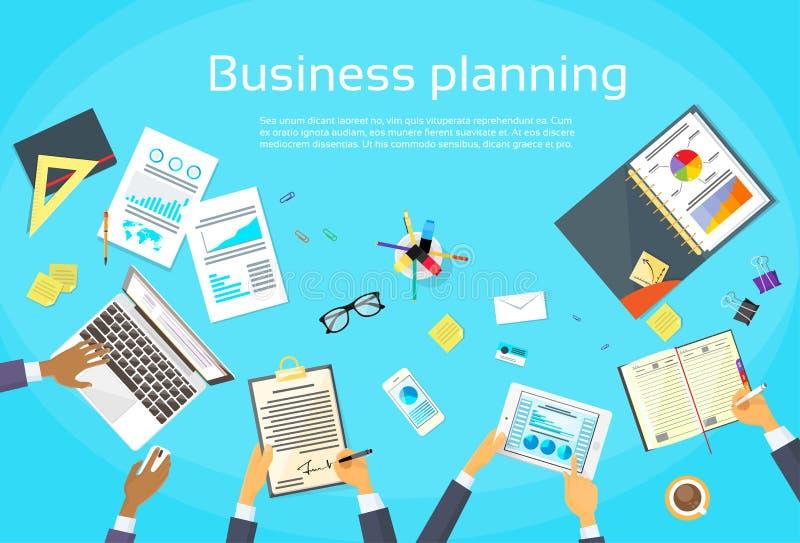 Biznesowego planowania pojęcia biznesmen Wręcza biurko ilustracji
