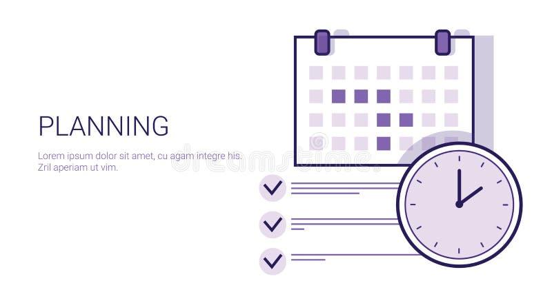 Biznesowego planowania pojęcia czasu zarządzania sieci Korporacyjny sztandar Z kopii przestrzenią ilustracja wektor