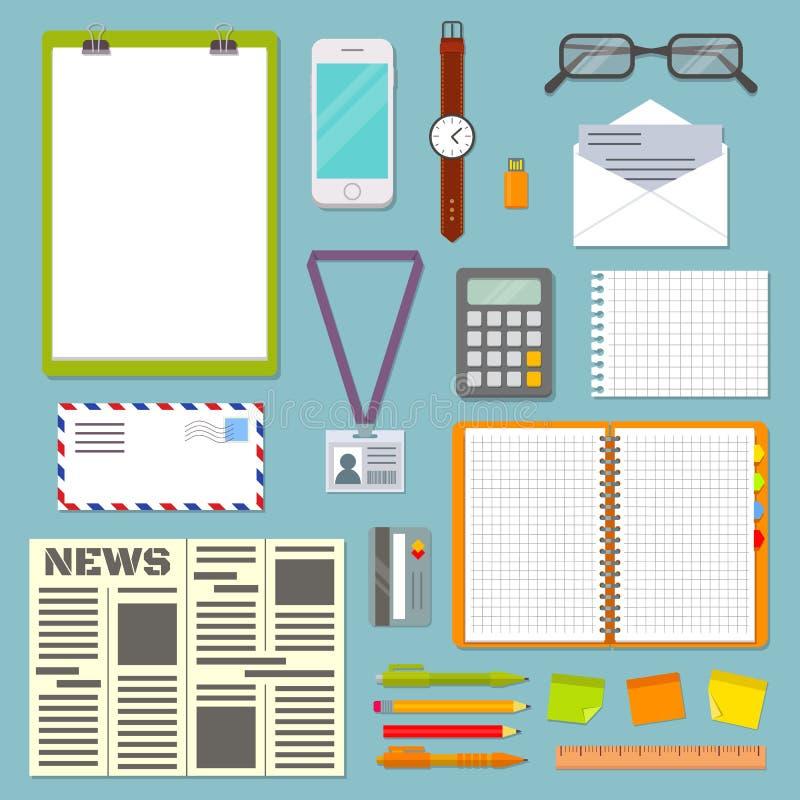 Biznesowego planowania stół z biurowymi dostawami ilustracji