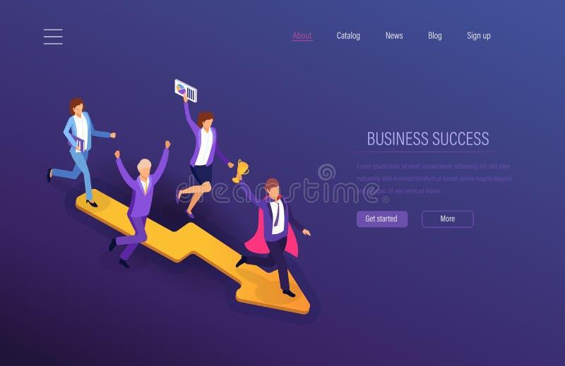 biznesowego pojęcia odosobniony sukcesu biel Praca zespołowa sukces, pieniężny dobrobyt, kariera przyrost, przywódctwo royalty ilustracja