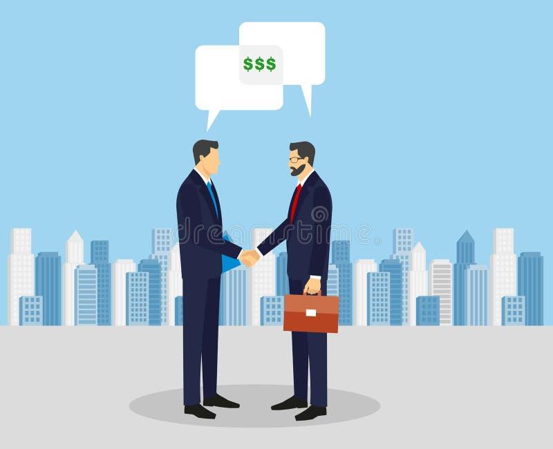 Biznesowego pojęcia wektorowa ilustracja w płaskim kreskówka stylu ludzie się interesy rąk Biznesmeni robi transakci Pieniądze in ilustracji