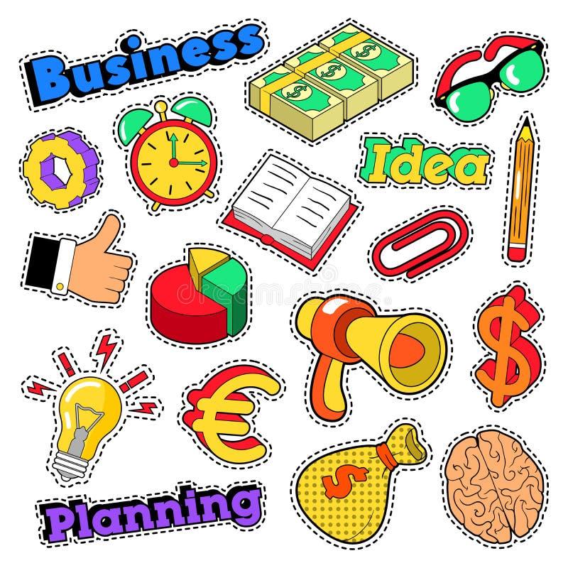 Biznesowego pomysłu Komiczni majchery, łaty, odznaki z mózg i megafon, ilustracji